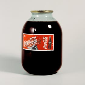 "Typically soviet 3-liter glass can filled with ""Coca-Cola"""